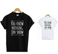 Wholesale Womens Tops Tshirts Wholesale - Wholesale-New Arrival Womens T Shirt You Know Nothing Jon Snow Top Tees Games of Thrones Tshirts Short Sleeve Casual Cotton Clothing
