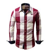 erkekler gömleklik gömlek satışı toptan satış-Sıcak Satış Rahat erkek Ekose Gömlek Tam Kollu Pamuk Gömlek Erkekler 2018 Streetwear İş Gömlek camisa sosyal masculina Gömlek