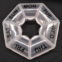boîte de stockage de pilule médicale achat en gros de-2018 Nouveaux Soins de santé Médecine Pill Box heptagon Vitamine 7 Jours Hebdomadaire Titulaire Tablette De Stockage Cas Container Cases Promotion Voyage Vacances