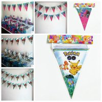 Wholesale Decorations For Kids - Banner Trolls Moana Poke Theme Flag Party Decorations Baby Happy Birthday Wedding Event Party Supplies for Kids CCA6952 50lot