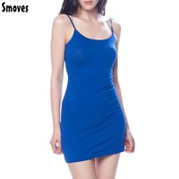 Wholesale Candy Color Vest Dress - Wholesale- Smoves Womens Candy Color Casual Cotton Camisole Modal Spaghetti Strap Long Tank Tops Spaghetti Strap Vest Basic Slip Mini Dress
