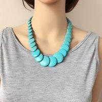 Wholesale Turquoise Coral Pendant - Free Shipping New Simple Choker Turquoise Stone Fashion Necklace, Two Colors Hot Sale Cute Design Necklace