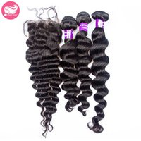 Wholesale Double Star Parts - Prida Star 4pcs Lot Virgin Brazilian Loose Wave Hair With Closure 3Pcs Human Virgin Hair Bundles With Lace Closure 1pc Free Part