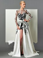 Wholesale Detachable Trains For Dresses - sexy long sleeeves prom dress with A-line detachable 2 in1 applique jewel back hollow elegant evening gown for women