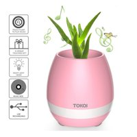 Wholesale Smart Home Audio Wholesale - Touch Wireless Bluetooth Flowerpot Mini Subwoofer Speaker with LED Night Light Home Colorful Smart Plant Office Mp3 Music Player