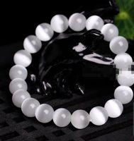 jade branco pedra preciosa venda por atacado-10mm branco natural olho de gato pedra gemstone beads jóias pulseira pulseira 7.5 ''