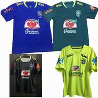 Wholesale Dark Blue Spandex Shirt - New Sports Outdoors Brazil shirt yellow blue black Dark green training suit Jerseys S-2XL