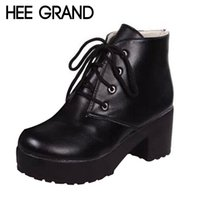 Wholesale Vogue Platform Heels - HEE GRAND Women Boots Fashion Arrival Vogue Women Motorcycle Boots Platform Heel Shoes Ankle Boots for women Drop shipping 687