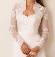 Wholesale High Collar Lace Bolero Jacket - 2017 Best Selling High Collar Long Sleeves Elegant Best Lace Wedding Jacket Wedding Accessories Bolero Free Shipping