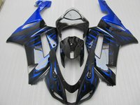 Wholesale Kawasaki Bike Fairing Zx6r - Free gifts New TOP ABS Motorcycle bike Fairing kits Fit for KAWASAKI Ninja ZX6R 07 08 ZX6R 636 2007 2008 bodywork set cool black blue flame