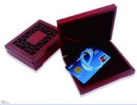 chinesische art aufbewahrungsboxen großhandel-Großhandels-chinesische Art Gold-VIP-Mitgliedskarte Mahagoni-Box Visitenkarte Box Holz Aufbewahrungsbox