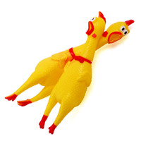 Wholesale Rubber Chicken Small - 200pcs lot Yellow Chicken Chape Dog Cat Squeak Toy Non-toxi Rubber Chew Toys for Small Medium Dog Pets
