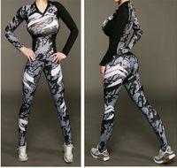 Wholesale Long Skinny Yoga Pants - European fashion women's personality sexy print long sleeve skinny shirt top and long pants leggings suit twinset tracksuit sports yoga set