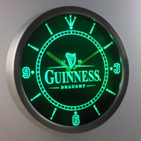 Wholesale Guinness Led Signs - Wholesale-nc0090 Guinness Vintage Logo Beer Bar Neon Sign LED Wall Clock