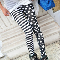 Wholesale Charm Leggings - Wholesale- Hot Sale 2016 Ladys Girls Fashion Charming Cool Punk Style Sexy Lady Womens Stripe Star Skinny SlimStretchy Leggings New 1 pc
