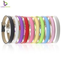 "Wholesale Wholesale Bracelets Metal Slide Letters - Wholesale- 100PCS 8MM PU Leather Metal Luster DIY Wristband Bracelets "" Can Choose the Color"" Fit 8mm Slide Letter Charms LSBR07*100"