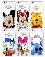 Wholesale Soft Case Cartoon - For iphone 7 Case Cute Cartoon Mickey Minnie Painting Case Clear Transparent Soft TPU Cases Back Cover For iphone 6s plus 7 7plus 009
