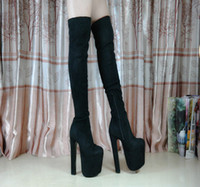 Wholesale 17 Cm Heel - Wholesale- 17 cm High Heel Thick Heels Knee-High Boots over the knee black boot for women sy-1547