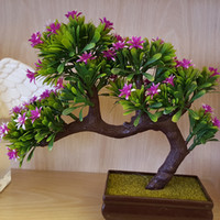 Venta al por mayor- Plantas Artificiales Bonsai Plástico Flor Bonsai Artificial Plantas Verdes Decoraciones de Navidad para Plantas Artificiales Regalos