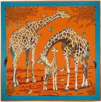 Wholesale Giraffe Scarves - Wholesale-130cm*130cm 100% Silk Euro Brand Style Fashion Paris Animal Giraffe Print Silk Square Scarf Femal Fashion Les Girafes Shawls