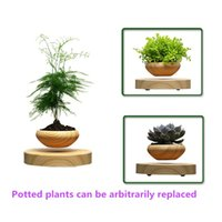 Wholesale Levitating Floating Magnetic - Wood LED Levitating Plants Air Bonsai Pot - Magnetic Levitation device Flower Floating Air Bonsai Pot Potted Plant for Home Office