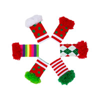 Wholesale Chiffon Ruffle Leggings - Christmas Girls Leg Warmer Polka Dots Striped Chiffon Ruffle Kids Leg Warmer Christmas Gift Newborn Photo Prop