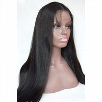 Wholesale Human Hair Braided Wigs - Italian yaki brazilian human hair wigs Yaki Straight 4*4 Silk Top full lace wigs ponytail braided lace wigs for African American