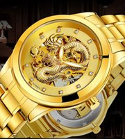 Wholesale Dragon Battery - 2017 Men luxury brand watches Stainless steel gold automatic hollow business mechanical wristwatches quartz waterproof luminous dragon watch