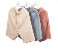 Купить Гарем Поты Молнии-Летние новые шорты Kanye Drop Crotch Drawstring Sweat Shorts Застежка -молния Mens Hip Hop Harem Justin Bieber Short Pants M-XL