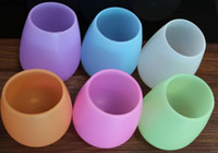 Wholesale Art Castings - Mix Colors Unbreakable clear Rubber Wine Glass silicone wine glass silicone wine cup Free shipping 50pcs