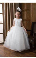 Wholesale Maxi Dresses For Kids - Retail Summer Flower Girls Maxi Dresses for Wedding Long Length Embroidery White Party Dress for Girl Kids Ball Gowns E9156