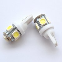 Wholesale 158 bulb led - Wholesale- New 2X White Red Blue Pink Yellow Green T10 Wedge 5SMD 5 SMD 5050 LED Light bulbs W5W 2825 158 192 168 194 Bulb Car Lamp DC 12V