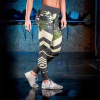 Wholesale Female Camouflage Clothing - Camouflage striped print fitness legging pants female clothes athleisure push up elastic leggings for women harajuku jeggings MTL170811