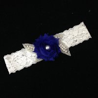 Wholesale Blue Rhinestone Garter - Royal Blue Wedding Garter Rhinestone Beaded Flower Bridal Garter Belt Vintage Lace Garter For Stocking Bridal Accessories