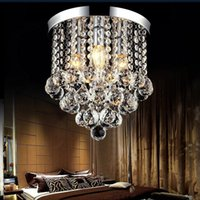 Wholesale Stair Crystal Lamp - Modern 15 20 25 30 35cm Crystal Chandelier Light Led Ceiling Light Lamp Clear Crystal Lustre Lamp Aisle Stair Hallway Corridor Porch Lights