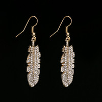 Wholesale Brass Glass Chandelier - Vintage gold color Crystal Earring Jewelry Fashion Brand Glass Rhinestone leaf Drop Earring Cuffs For Women #E227