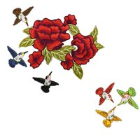 Wholesale Wholesale Flower Jeans - 7pcs Sew On Rose Patch Flowers Birds Patches for Clothing Iron On Patches Clothes Badges Iron-on Parches applique patches for DIY jeans