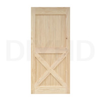 Wholesale Pine Panel - DIYHD 38in*84in Unfinished Pine Knotty Sliding Barn Wood Door Slab Two-side X Style Barn Door Panel With Hardware Ready for installation