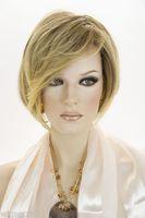 perucas misturadas venda por atacado-Mistura Loira Dourada Sombreado Marrom Curto Laço Frente Jon Renau Perucas Perucas de Cabelo Sintético