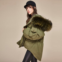 Wholesale Large Girls Winter Coats - Women's Army Green Large Fur Collar Hooded Parkas Coat Warm Cool Girls Punk Hippie Oversized Winter Thickened Down Jacket Casual Overcoat