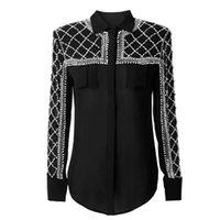 Wholesale Embellished Blouse - High QUALITY Newest 2017 PARIS BARACCO Designer Shirt Women's Long Sleeve Luxurious Beaded Diamond Embellished Blouse Shirt