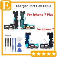 micrófonos de puerto usb al por mayor-para iPhone 6S 6S Plus 7G 7 Plus 5SE Conector Dock USB Puerto de carga Cable flexible Auriculares Jack de audio Micrófono Reemplazo