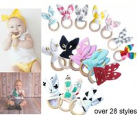 Wholesale Wholesale Wooden Fabrics - 2017 New INS Baby Teethers Chevron Zigzag Wooden Ring With Bunny Ear Fabric Maple Teething Practice Shower Toys Training infant 28styles A07
