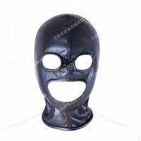 Wholesale leather blindfolds - Hot Sale Sex Products Soft PU Leather Mask Hood Bondage Blindfold Sex Toys For Couples Adult Games Fantasy Sex Cosplay Slave Set Free size