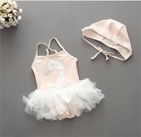 banyo kayışı toptan satış-Bebek Mayo + Şapka Kuğu Mayo Bebek Kız Ayarlanabilir Askı Beachwear Dantel Yay-Düğüm Mayo Çocuk Yaz Plaj Giyim