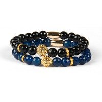 Wholesale Gold Stone Ring For Men - Top Quality Jewelry Wholesale 8mm Faceted Blue and Black Agate Stone Beads with PVD Plated Lion Head Bracelets for men