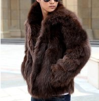 Wholesale Men Fur Thickening Coat - Wholesale- New Fashion Male Mens Faux Fur Winter Warm Thicken Coats Outerwear Overcoat Slim Fashion Jackets Plus XXXL Y1880
