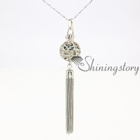 Wholesale Long Necklace Ball - ball tassel openwork long necklace with tassel essential oil necklace diffuser necklaces wholesale aromatherapy jewelry aromatherapy pendant