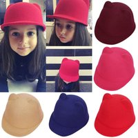 New Winter Fashion Hip-Hop Kinder Mädchen Kinder Stingy Brim Hüte Warm Teufel Hut Cute Cat Ohr Multicolors Ohren Wolle Derby Bowler Cap