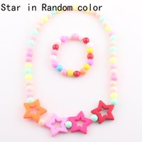 Wholesale Eastern Star Necklace - 2016 Candy Color Children Star Necklace Lovely Beads Baby Kids Necklace Bracelet Jewelry Set Handmade T113
